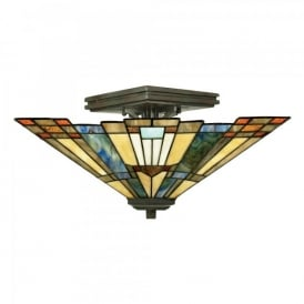 Quoizel Inglenook 2 Light Semi Flush Ceiling Fitting In Valiant Bronze Finish And Tiffany Glass Shade