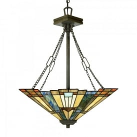 Quoizel Inglenook 3 Light Up Lighter Ceiling Pendant In Valiant Bronze Finish And Tiffany Glass Shade