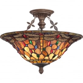 Quoizel Jewel Dragonfly 3 Light Semi Flush Ceiling Fitting In Malaga Finish And Tiffany Glass Shade