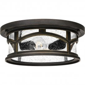 Quoizel Marblehead Outdoor Coastal 2 Light Flush Ceiling Fitting in Palladian Bronze Finish with Seeded Glass