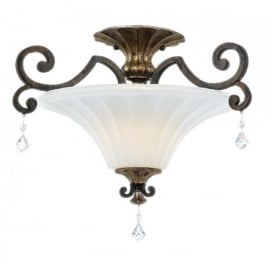Quoizel Marquette 2 Light Semi-Flush Fitting with Heirloom Finish and Crystal Drops