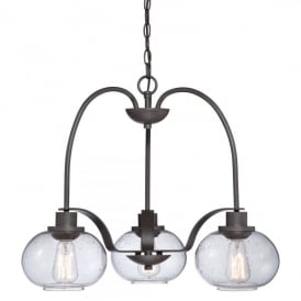 Quoizel Trilogy 3 Light Ceiling Chandelier Pendant In Old Bronze Finish And Clear Glass Shade