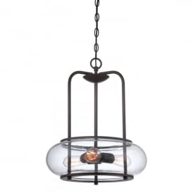 Quoizel Trilogy 3 Light Ceiling Fitting Old Bronze Finish And Clear Glass Shade