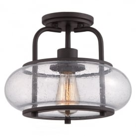 Quoizel Trilogy Single Light Semi Flush Ceiling Fitting Old Bronze Finish And Clear Glass Shade