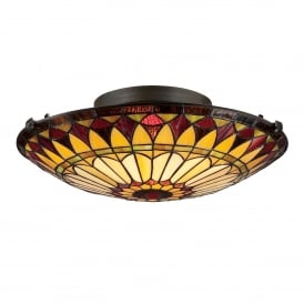 Quoizel West End 2 Light Flush Ceiling Fitting In Vintage Bronze Finish And Tiffany Glass Shade