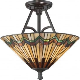 QZ/ALCOTT/SF Quoizel Alcott 2 Light Large Semi Flush Ceiling Fitting In Valiant Bronze Finish With Tiffany Glass Shade