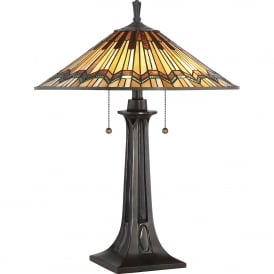 QZ/ALCOTT/TL Alcott 2 Light Tiffany Table Lamp in Valiant Bronze Finish