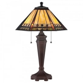 QZ/ARDEN/TL Quoizel Arden 2 Light Table Lamp In Bronze Patina Finish And Tiffany Glass Shade