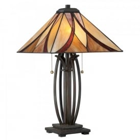 QZ/ASHEVILLE/TL Quoizel Asheville 2 Light Table Lamp In Valiant Bronze Finish And Tiffany Glass Shade