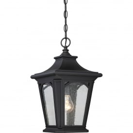 QZ/BEDFORD8/S Bedford Coastal Single Light Small Chain Pendant in Mystic Black Finish with Seeded Glass