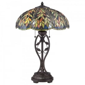 QZ/BELLE/TL Quoizel Belle 2 Light Table Lamp In Imperial Bronze Finish And Tiffany Glass Shade