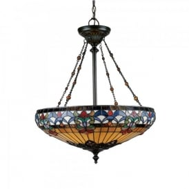 QZ/BELLEFLEUR/P Quoizel Belle Fleur 4 Light Ceiling Pendant In Vintage Bronze Finish And Tiffany Glass Shade