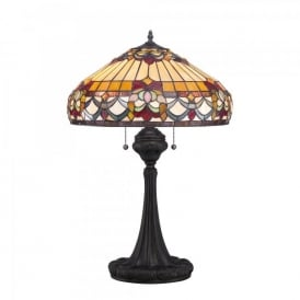 QZ/BELLEFLEUR/TL Quoizel Belle Fleur 2 Light Table Lamp In Vintage Bronze Finish And Tiffany Glass Shade