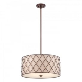 QZ/BROWNLATT/P/L Quoizel Brown Lattice 4 Light Ceiling Pendant In Copper Canyon Finish With Tan Fabric Shade