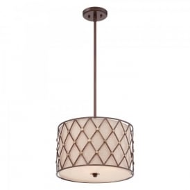 QZ/BROWNLATT/P/M Quoizel Brown Lattice 3 Light Ceiling Pendant In Copper Canyon Finish With Tan Fabric Shade