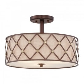 QZ/BROWNLATT/SF Quoizel Brown Lattice 3 Light Semi Flush Ceiling Fitting In Copper Canyon Finish With Tan Fabric Shade