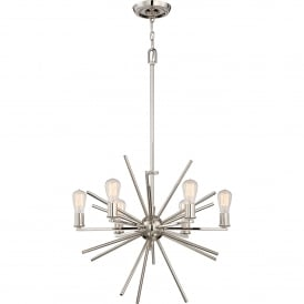QZ/CARNEGIE6 IS Carnegie 6 Light Ceiling Chandelier in Imperial Silver Finish