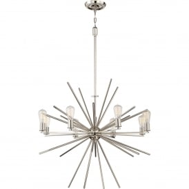QZ/CARNEGIE8 IS Carnegie 8 Light Ceiling Chandelier in Imperial Silver Finish