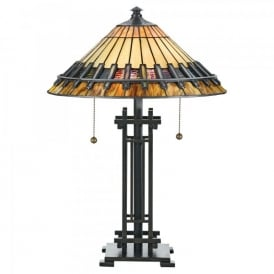 QZ/CHASTAIN/TL Quoizel Chastain 2 Light Table Lamp In Vintage Bronze Finish And Tiffany Glass Shade