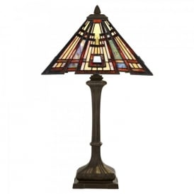 QZ/CLASSICCRF/TL Quoizel Classic Craftsman 2 Light Table Lamp In Valiant Bronze Finish And Tiffany Glass Shade