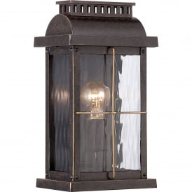 QZ/CORTLAND/S Cortland Single Light Small Wall Lantern in Imperial Bronze Finish with Glass