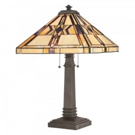 QZ/FINTON/TL Quoizel Finton 2 Light Table Lamp In Vintage Bronze Finish And Tiffany Glass Shade