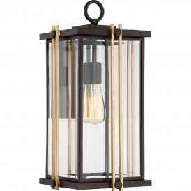 QZ/GOLDENROD2/L Quoizel Goldenrod Outdoor Single Light Large Wall Fitting in Western Bronze Finish with Bevelled Clear Glass