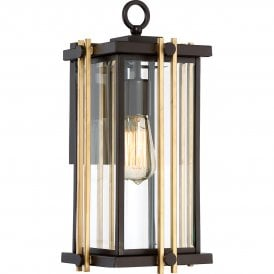 QZ/GOLDENROD2/M Quoizel Goldenrod Single Light Medium Wall Fitting in Western Bronze Finish with Bevelled Clear Glass