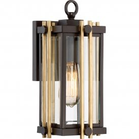 QZ/GOLDENROD2/S Quoizel Goldenrod Outdoor Single Light Small Wall Fitting in Western Bronze Finish with Bevelled Clear Glass