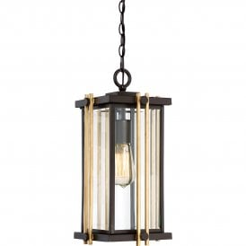QZ/GOLDENROD8/M Quoizel Goldenrod Outdoor Single Light Ceiling Pendant in Western Bronze Finish with Bevelled Clear Glass
