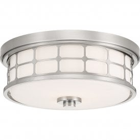 QZ/GUARDIAN/F BN Quoizel Guardian 2 Light Flush Bathroom Ceiling Fitting in Brushed Nickel Finish with White Opal Glass