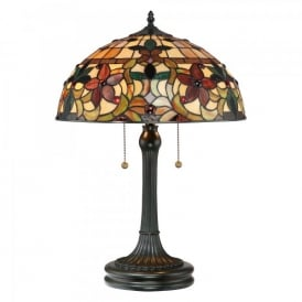QZ/KAMI/TL Quoizel Kami 2 Light Table Lamp In Vintage Bronze Finish And Tiffany Glass Shade