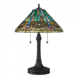QZ/KING/TL Quoizel King 2 Light Table Lamp In Vintage Bronze Finish And Tiffany Glass Shade