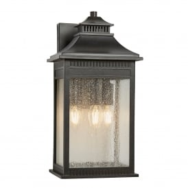 QZ/LIVINGSTON2/L Livingston Coastal 3 Light Large Wall Lantern in Imperial Bronze Finish with Seeded Glass