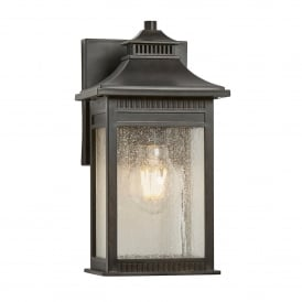 QZ/LIVINGSTON2/S Livingston Coastal Single Light Small Wall Lantern in Imperial Bronze Finish with Seeded Glass