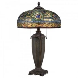 QZ/LYNCH/TL Quoizel Lynch 2 Light Table Lamp In Bronze Finish And Tiffany Glass Shade