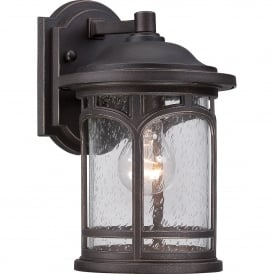 QZ/MARBLEHEAD2/S Marblehead Coastal Single Light Small Wall Lantern in Palladian Bronze Finish with Seeded Glass