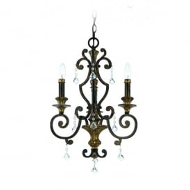 QZ/MARQUETTE3 Quoizel Marquette 3 Light Chandelier with Heirloom Finish and Crystal Droplets