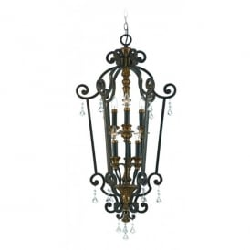 QZ/MARQUETTE6/B Quoizel Marquette 6 Light Pendant with Heirloom Finish and Crystal Droplets