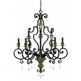 QZ/MARQUETTE9 Quoizel Marquette Large 9 Light Chandelier with Heirloom Finish and Crystal Droplets