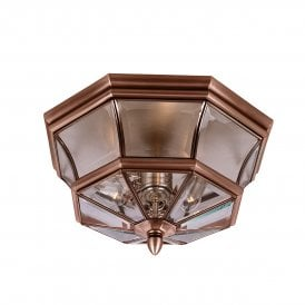 QZ/NEWBURY/F AC Newbury 3 Light Flush Outdoor Ceiling Fitting Made from Solid Brass in Aged Copper Finish