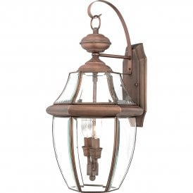 QZ/NEWBURY2/L AC Newbury 2 Light Large Outdoor Wall Fitting Made from Solid Brass in Aged Copper Finish