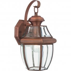 QZ/NEWBURY2/M AC Newbury Single Light Medium Outdoor Wall Fitting Made from Solid Brass in Aged Copper Finish