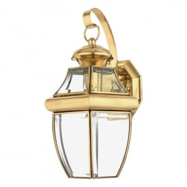 QZ/NEWBURY2/M Newbury Single Light Medium Wall Fitting Made from Solid Brass in Polished Brass Finish (Outdoor)