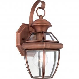 QZ/NEWBURY2/S AC Newbury Single Light Small Outdoor Wall Fitting Made from Solid Brass in Aged Copper Finish