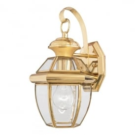QZ/NEWBURY2/S Newbury Single Light Small Wall Fitting Made from Solid Brass in Polished Brass Finish (Outdoor)