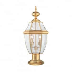 QZ/NEWBURY3/L Newbury 2 Light Pedestal Fitting Made from Solid Brass in Polished Brass Finish (Outdoor)