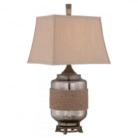 QZ/RIGGING Rigging Single Light Table Lamp with Mercury Glass Base Complete with Slubbed Sand Shade