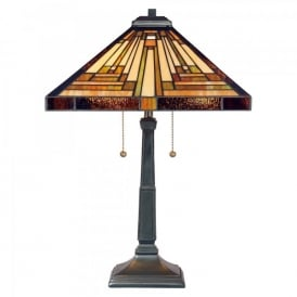 QZ/STEPHEN/TL Quoizel Stephen Single Light Table Lamp In Vintage Bronze Finish And Tiffany Glass Shade