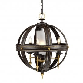 REGAL4 Regal 4 Light Ceiling Chandelier in Oil Rubbed Bronze and Gold Painted Finish